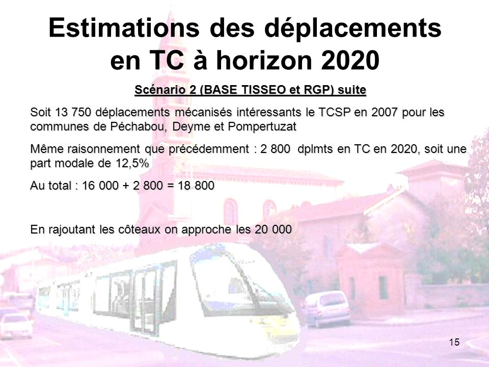 15 Estimations des déplacements en TC à horizon 2020 Scénario 2 (BASE TISSEO et RGP) suite Soit 13 750 déplacements mécanisés intéressants le TCSP en