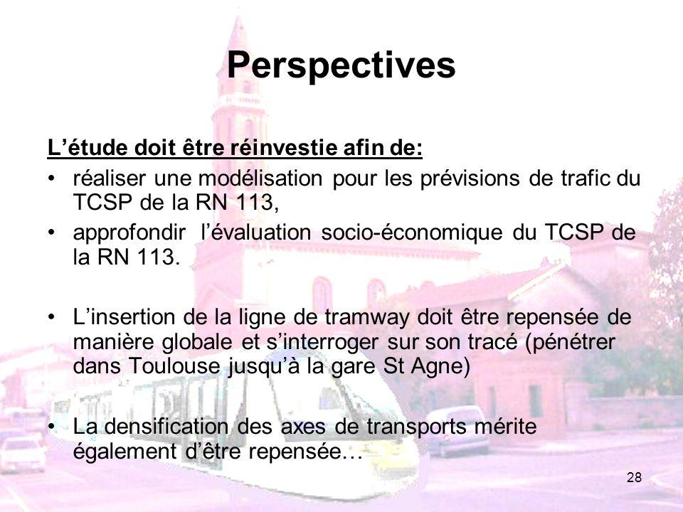 28 Perspectives Létude doit être réinvestie afin de: réaliser une modélisation pour les prévisions de trafic du TCSP de la RN 113, approfondir lévalua