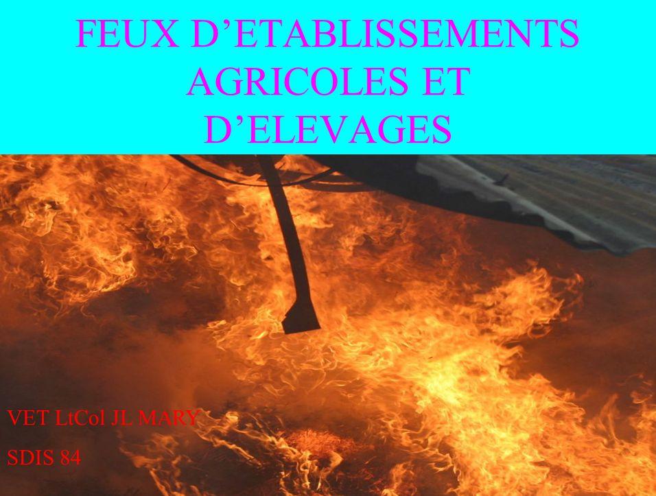 SPECIFICITE DES BATIMENTS AGRICOLES STOCKAGE DENGRAIS, DHYDROCARBURES, DE PRODUITS PHYTOSANITAIRES, DE DIVERS COMBUSTIBLES (PAILLE, FOIN, PALETTES, ALCOOL…), DE SILOS PRESENCE DANIMAUX EN GRAND NOMBRE PROXIMITE DE BATIMENTS DHABITATION VETUSTE EVENTUELLE DES INSTALLATIONS ELECTRIQUES FREQUENCE ELEVEE DE SINISTRES: PLUSIEURS CENTAINES DEPUIS 1994 (SOURCE: BARPI) CAUSES: ACTES DIMPRUDENCE OU DE MALVEILLANCE