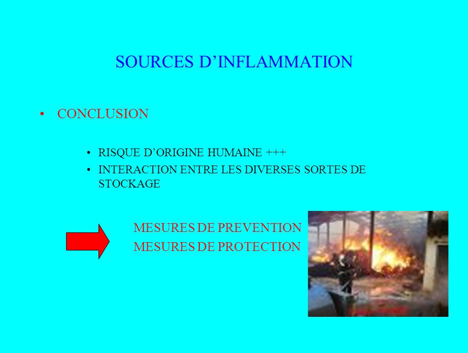 SOURCES DINFLAMMATION CONCLUSION RISQUE DORIGINE HUMAINE +++ INTERACTION ENTRE LES DIVERSES SORTES DE STOCKAGE MESURES DE PREVENTION MESURES DE PROTEC