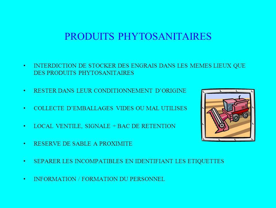 PRODUITS PHYTOSANITAIRES INTERDICTION DE STOCKER DES ENGRAIS DANS LES MEMES LIEUX QUE DES PRODUITS PHYTOSANITAIRES RESTER DANS LEUR CONDITIONNEMENT DO