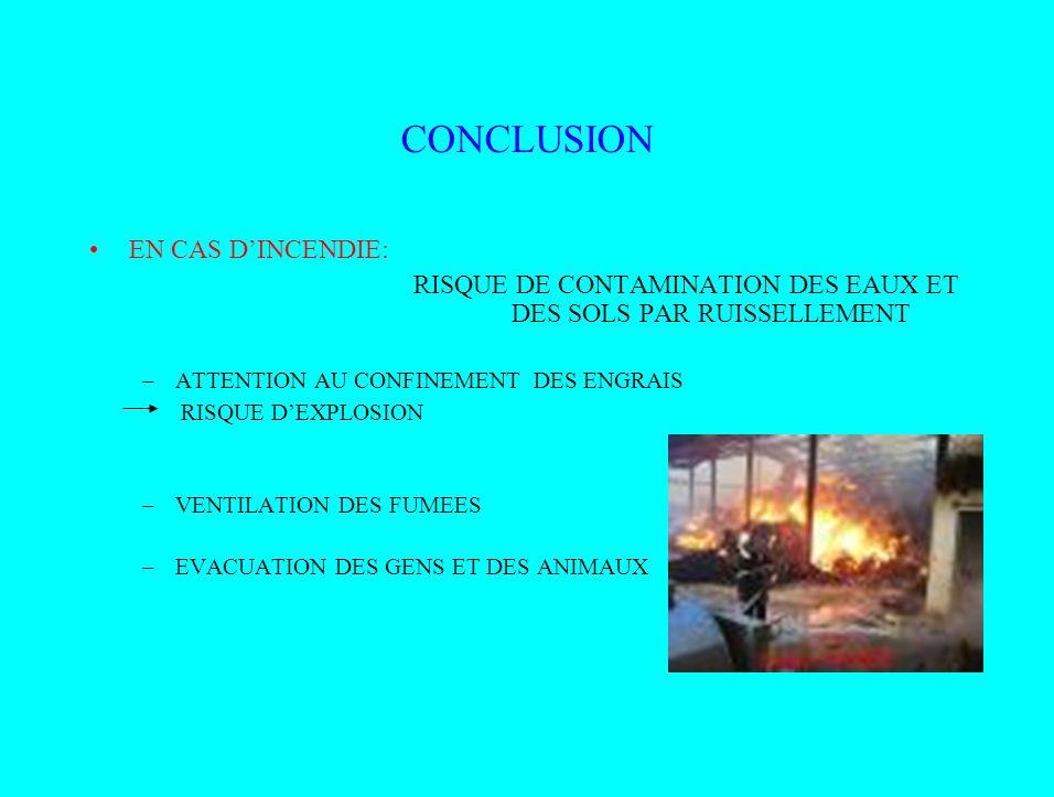 CONCLUSION EN CAS DINCENDIE: RISQUE DE CONTAMINATION DES EAUX ET DES SOLS PAR RUISSELLEMENT –ATTENTION AU CONFINEMENT DES ENGRAIS RISQUE DEXPLOSION –V