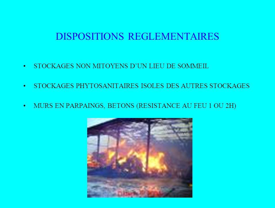 DISPOSITIONS REGLEMENTAIRES STOCKAGES NON MITOYENS DUN LIEU DE SOMMEIL STOCKAGES PHYTOSANITAIRES ISOLES DES AUTRES STOCKAGES MURS EN PARPAINGS, BETONS