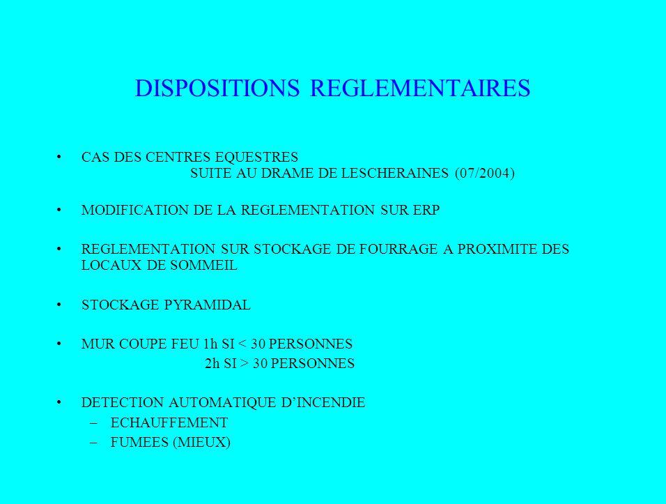 DISPOSITIONS REGLEMENTAIRES CAS DES CENTRES EQUESTRES SUITE AU DRAME DE LESCHERAINES (07/2004) MODIFICATION DE LA REGLEMENTATION SUR ERP REGLEMENTATIO