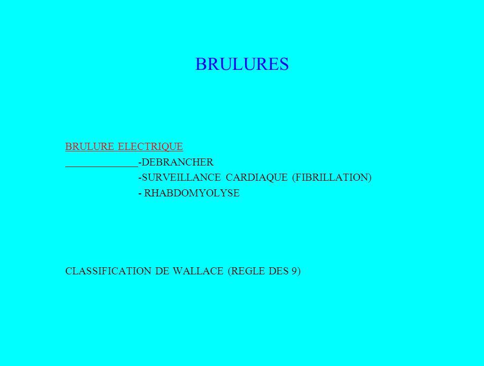 BRULURES BRULURE ELECTRIQUE -DEBRANCHER -SURVEILLANCE CARDIAQUE (FIBRILLATION) - RHABDOMYOLYSE CLASSIFICATION DE WALLACE (REGLE DES 9)