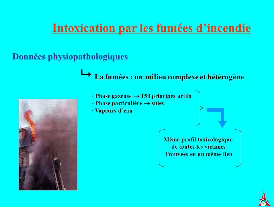Intoxication par les fumées dincendie Données physiopathologiques La fumées : un milieu complexe et hétérogène · Phase gazeuse 150 principes actifs ·