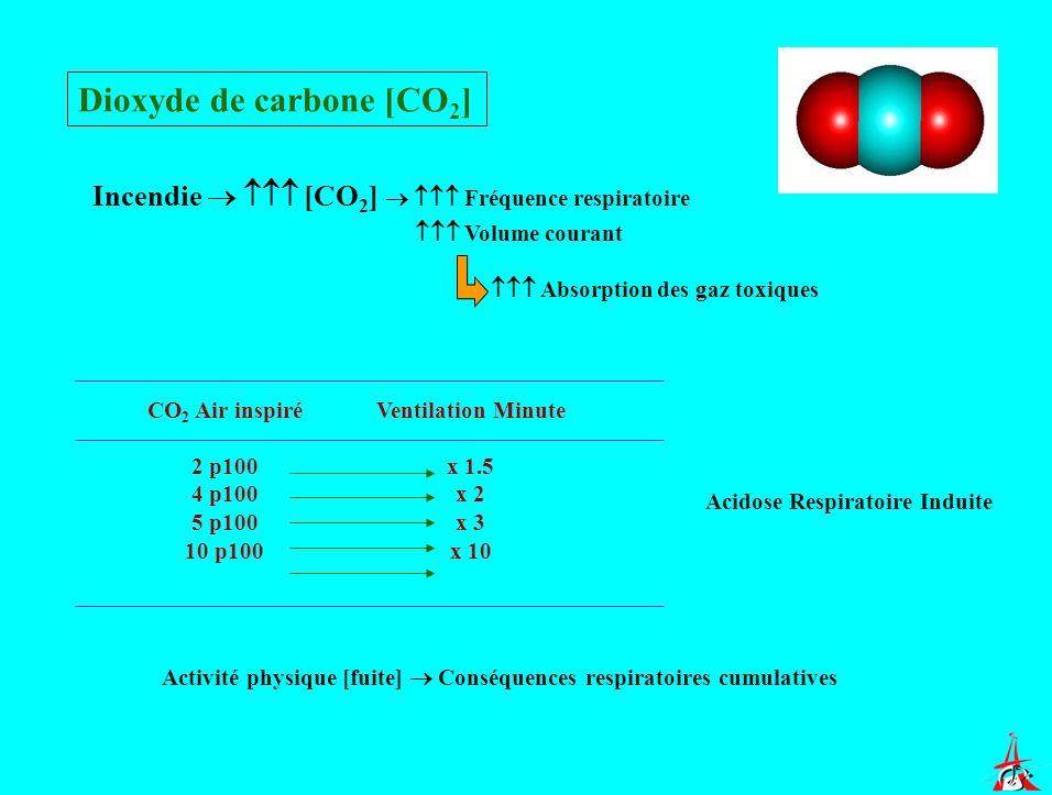 Dioxyde de carbone [CO 2 ] Incendie [CO 2 ] Fréquence respiratoire Volume courant Absorption des gaz toxiques CO 2 Air inspiré 2 p100 4 p100 5 p100 10
