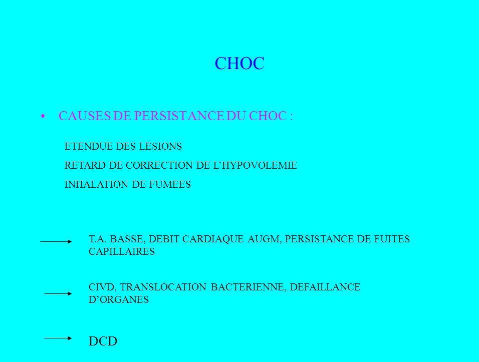 CHOC CAUSES DE PERSISTANCE DU CHOC : ETENDUE DES LESIONS RETARD DE CORRECTION DE LHYPOVOLEMIE INHALATION DE FUMEES T.A. BASSE, DEBIT CARDIAQUE AUGM, P