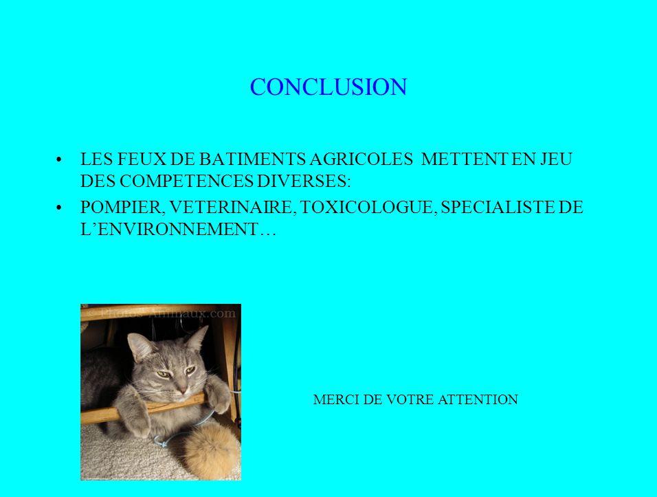 CONCLUSION LES FEUX DE BATIMENTS AGRICOLES METTENT EN JEU DES COMPETENCES DIVERSES: POMPIER, VETERINAIRE, TOXICOLOGUE, SPECIALISTE DE LENVIRONNEMENT…
