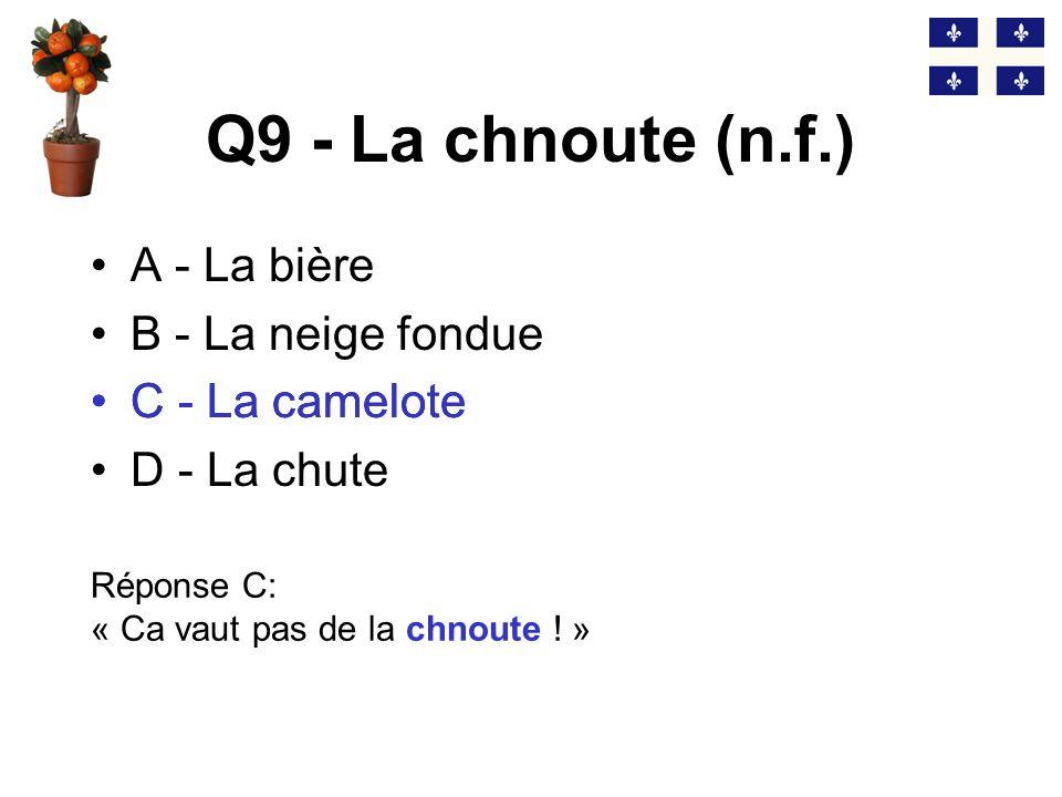 Q8 - Frencher (v.) A - Bavarder B - Sembrasser C - Frimer D - Déguster Réponse B: « Ils ont frenché pendant au moins 20 minutes!» (anglicisme) B - Sembrasser