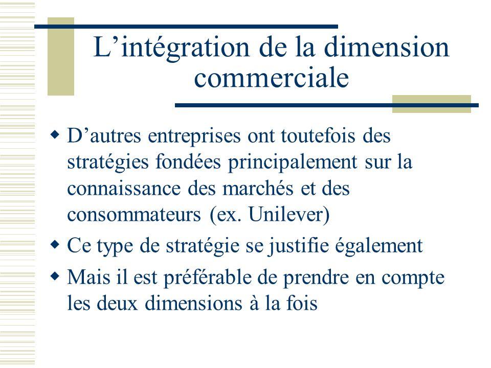 Lintégration de la dimension commerciale Dautres entreprises ont toutefois des stratégies fondées principalement sur la connaissance des marchés et des consommateurs (ex.