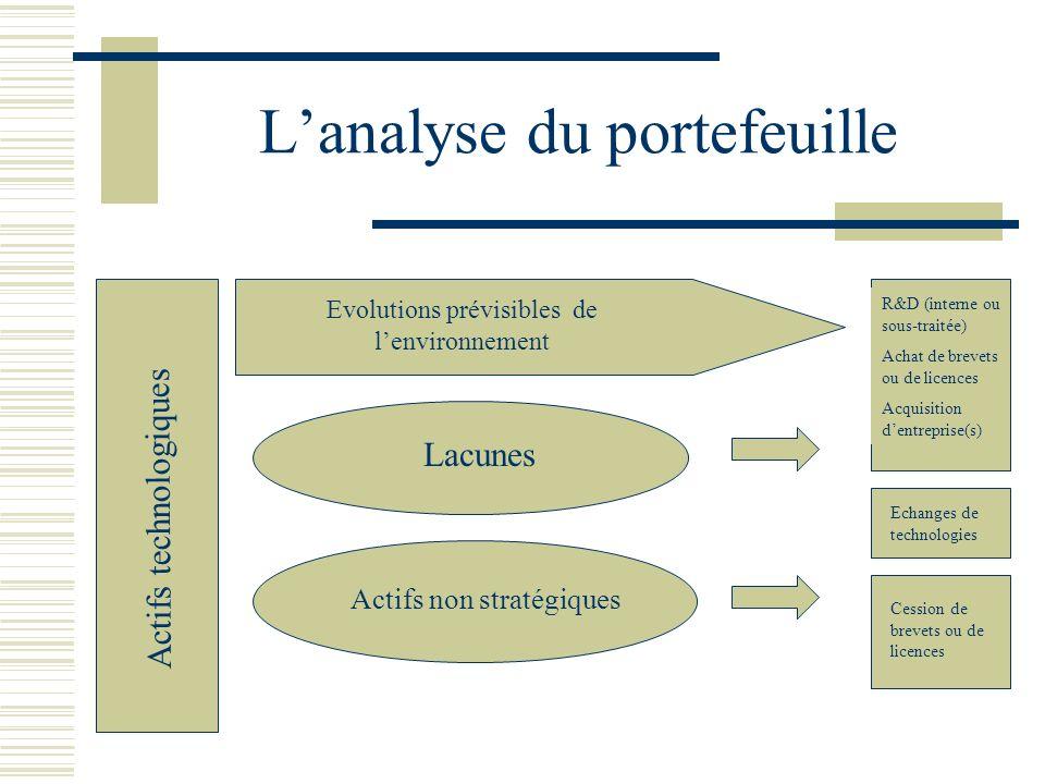 Lanalyse du portefeuille Actifs technologiques Evolutions prévisibles de lenvironnement Lacunes Actifs non stratégiques R&D (interne ou sous-traitée)