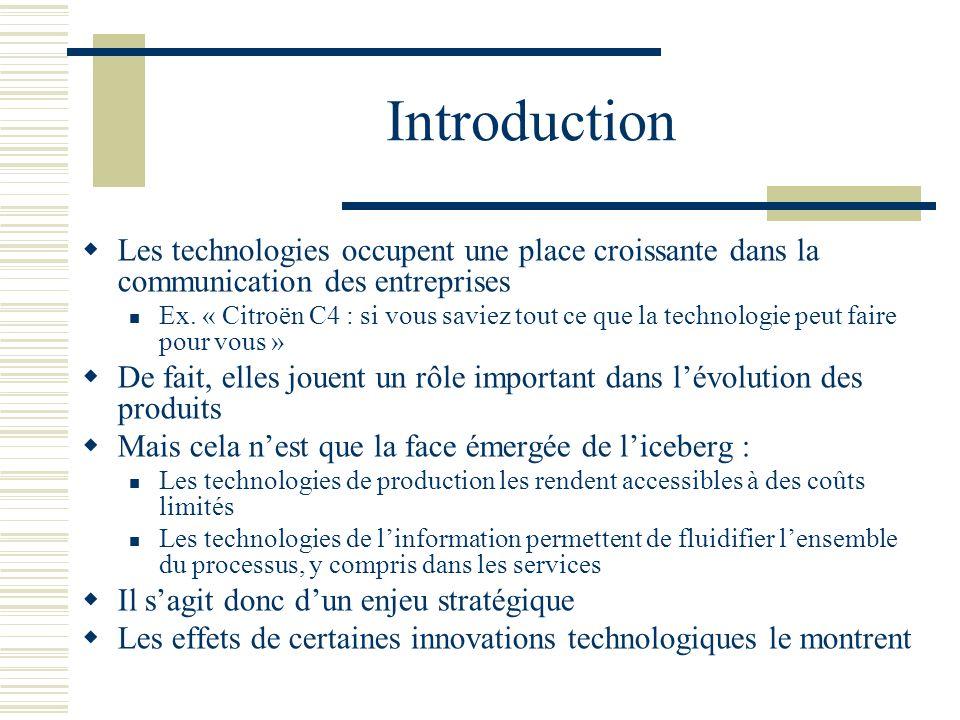 Introduction Les technologies occupent une place croissante dans la communication des entreprises Ex. « Citroën C4 : si vous saviez tout ce que la tec