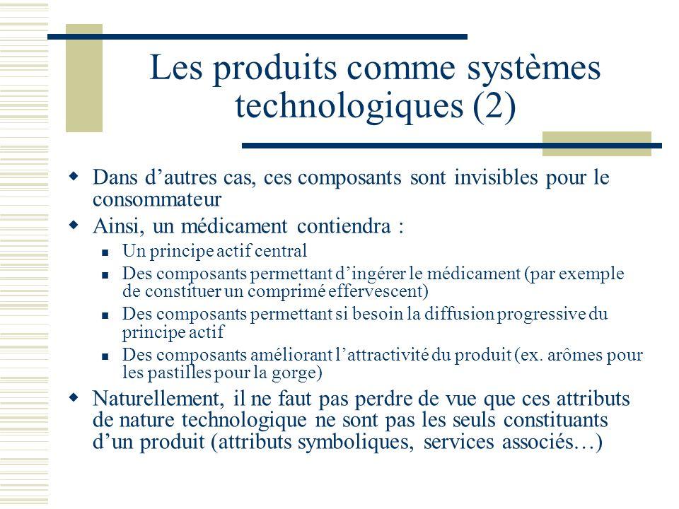 Les produits comme systèmes technologiques (2) Dans dautres cas, ces composants sont invisibles pour le consommateur Ainsi, un médicament contiendra :