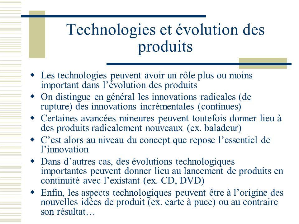 Technologies et évolution des produits Les technologies peuvent avoir un rôle plus ou moins important dans lévolution des produits On distingue en gén