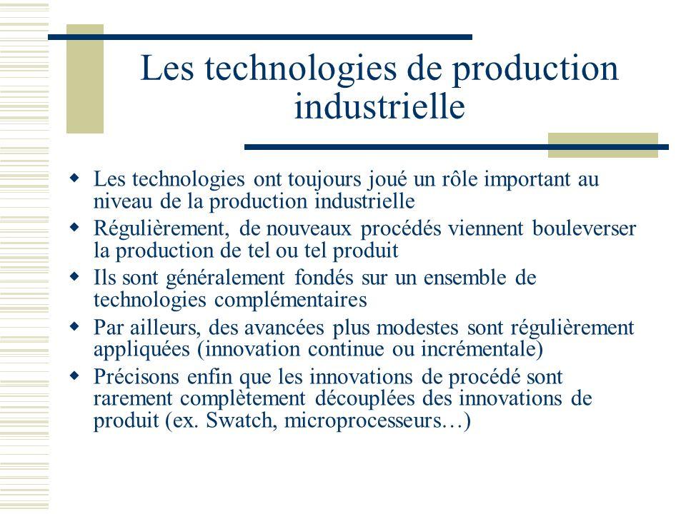 Les technologies de production industrielle Les technologies ont toujours joué un rôle important au niveau de la production industrielle Régulièrement