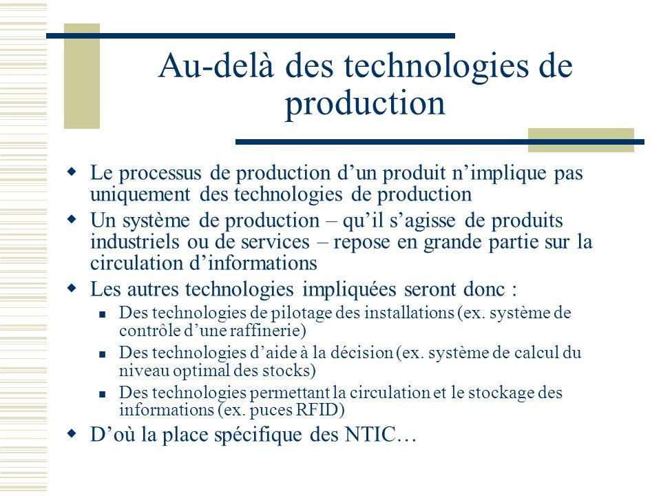 Au-delà des technologies de production Le processus de production dun produit nimplique pas uniquement des technologies de production Un système de pr