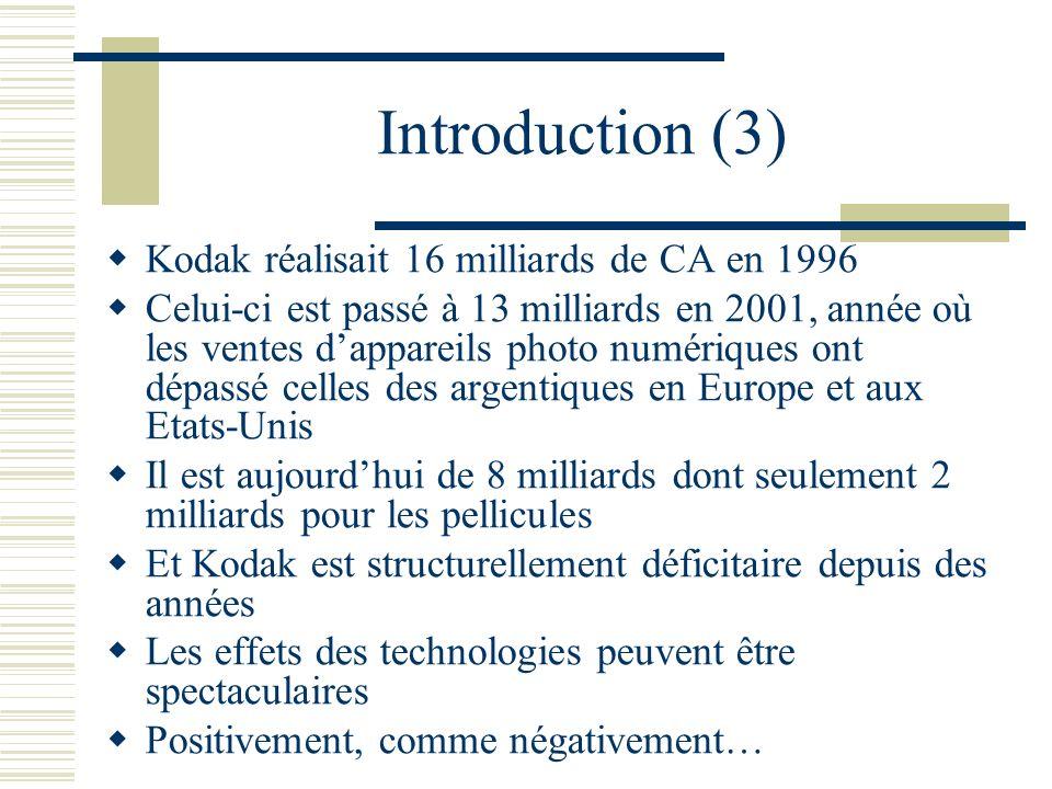 Introduction (3) Kodak réalisait 16 milliards de CA en 1996 Celui-ci est passé à 13 milliards en 2001, année où les ventes dappareils photo numériques ont dépassé celles des argentiques en Europe et aux Etats-Unis Il est aujourdhui de 8 milliards dont seulement 2 milliards pour les pellicules Et Kodak est structurellement déficitaire depuis des années Les effets des technologies peuvent être spectaculaires Positivement, comme négativement…