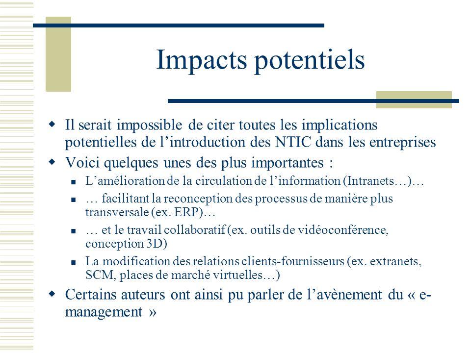 Impacts potentiels Il serait impossible de citer toutes les implications potentielles de lintroduction des NTIC dans les entreprises Voici quelques un