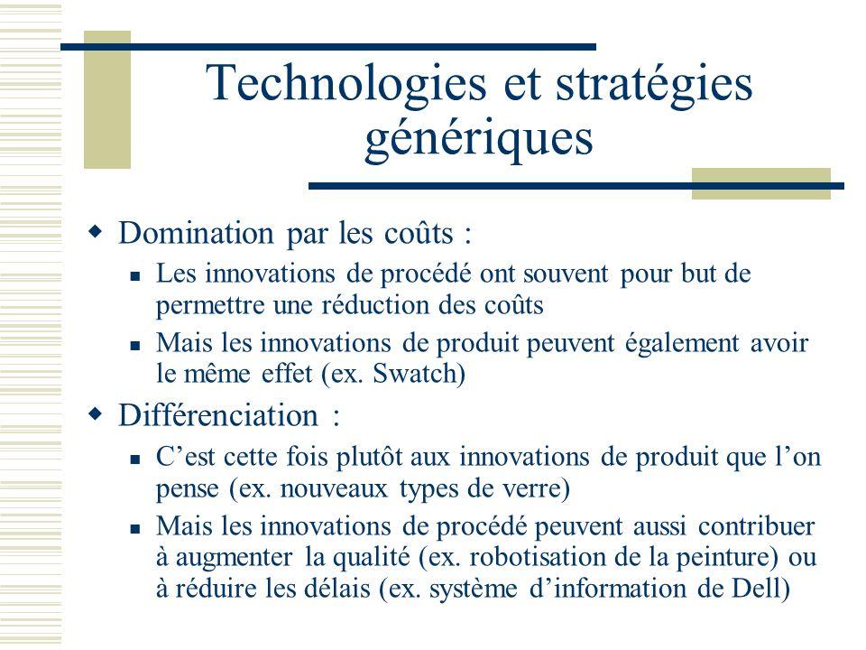 Technologies et stratégies génériques Domination par les coûts : Les innovations de procédé ont souvent pour but de permettre une réduction des coûts Mais les innovations de produit peuvent également avoir le même effet (ex.