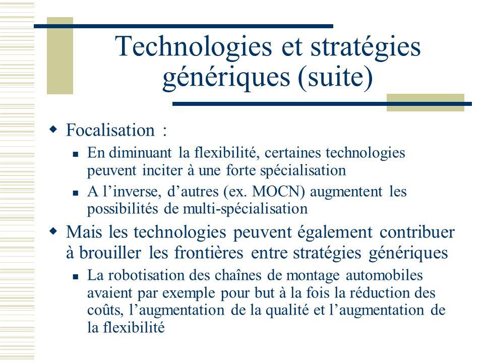 Technologies et stratégies génériques (suite) Focalisation : En diminuant la flexibilité, certaines technologies peuvent inciter à une forte spécialisation A linverse, dautres (ex.