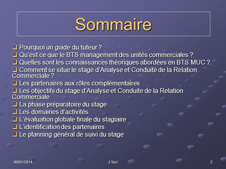 1306/01/2014J.Tazi Comment se situe le stage dAnalyse et Conduite de la Relation Commerciale .