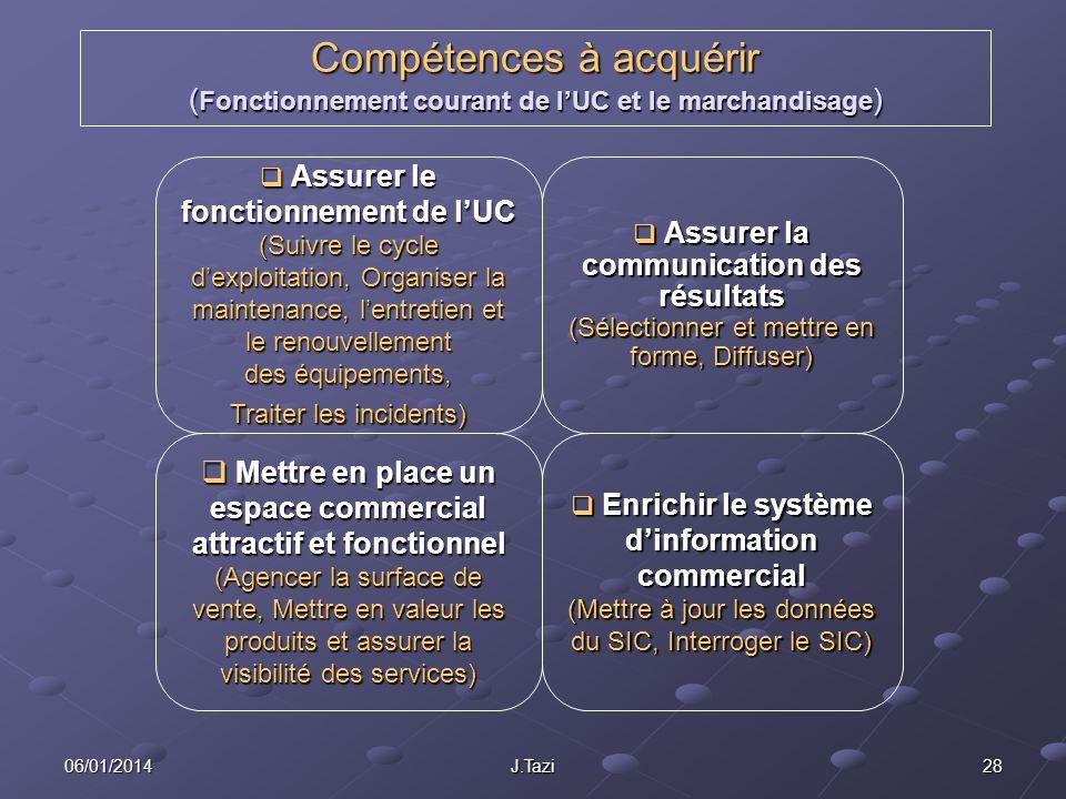 06/01/2014 J.Tazi 28 Compétences à acquérir ( Fonctionnement courant de lUC et le marchandisage ) Assurer le fonctionnement de lUC (Suivre le cycle de