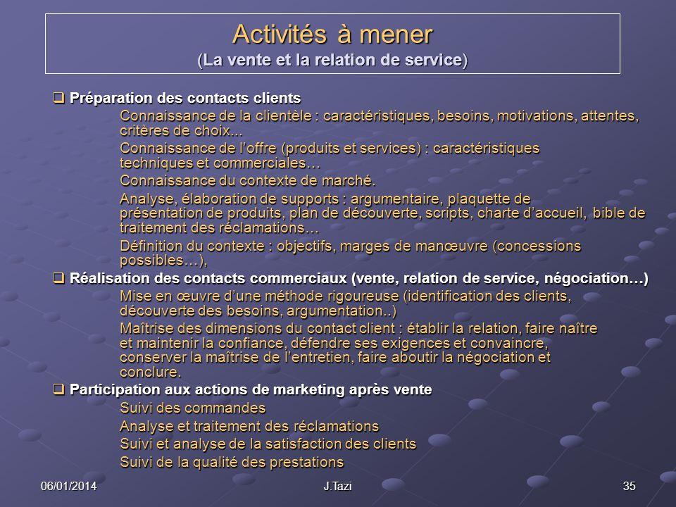 06/01/2014 J.Tazi 35 Activités à mener (La vente et la relation de service) Préparation des contacts clients Préparation des contacts clients Connaiss