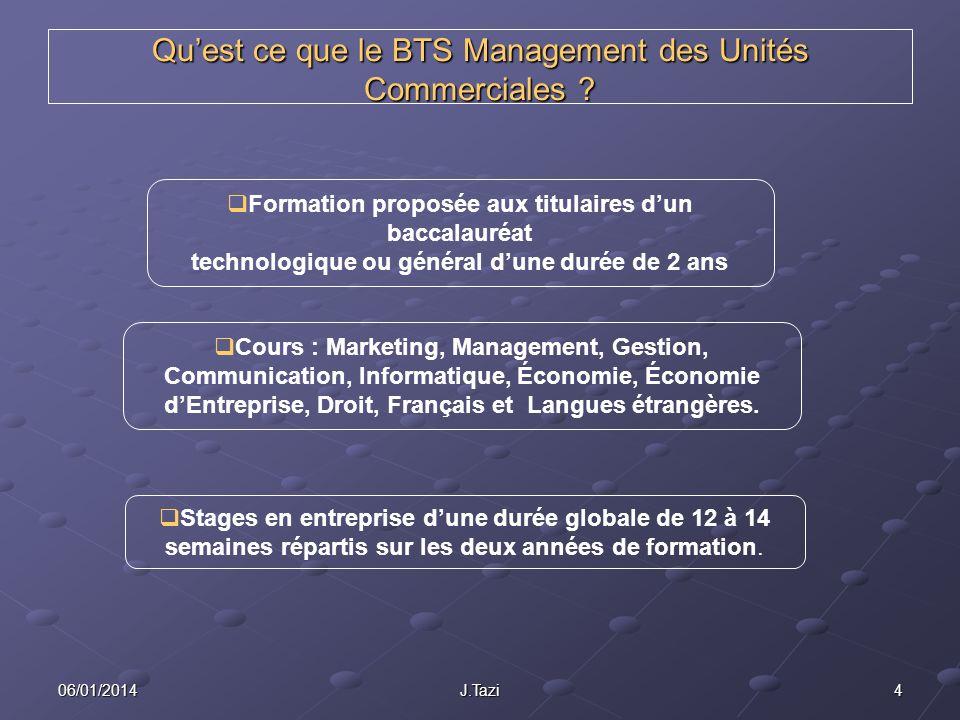406/01/2014J.Tazi Quest ce que le BTS Management des Unités Commerciales ? Formation proposée aux titulaires dun baccalauréat technologique ou général