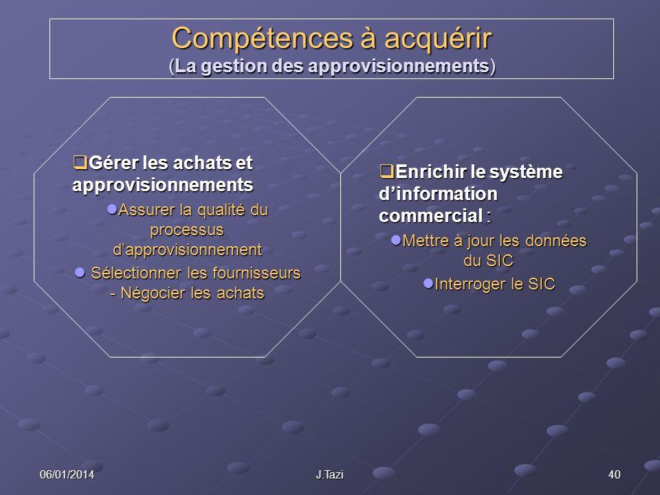 06/01/2014 J.Tazi 40 Compétences à acquérir (La gestion des approvisionnements) Gérer les achats et approvisionnements Gérer les achats et approvision