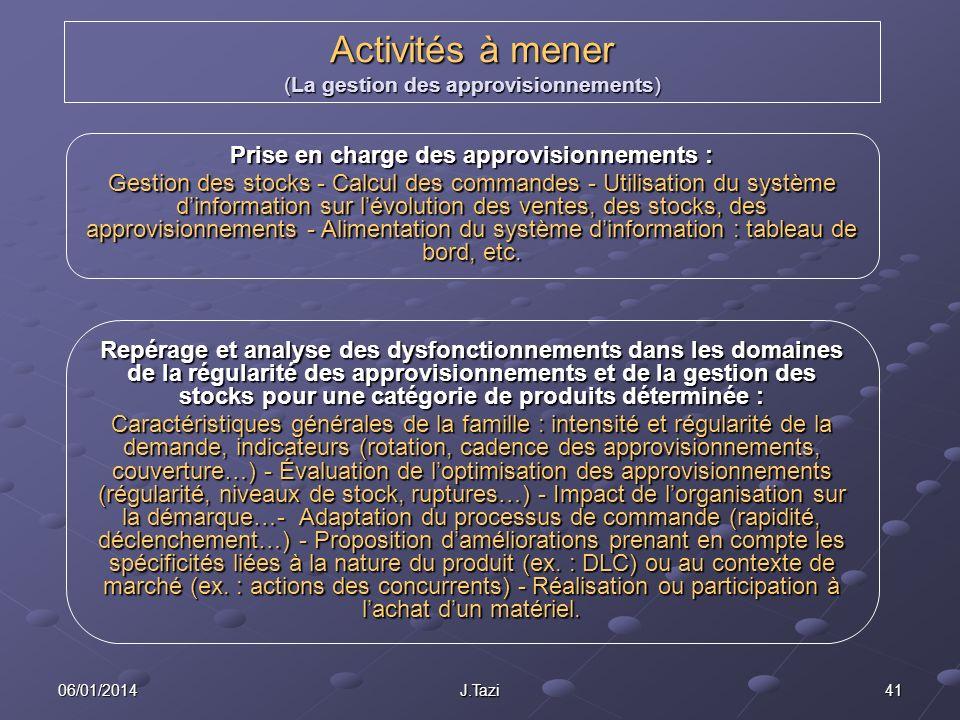 06/01/2014 J.Tazi 41 Activités à mener (La gestion des approvisionnements) Prise en charge des approvisionnements : Gestion des stocks - Calcul des co