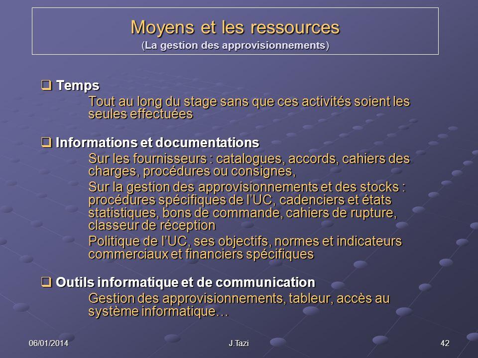 06/01/2014 J.Tazi 42 Moyens et les ressources (La gestion des approvisionnements) Temps Temps Tout au long du stage sans que ces activités soient les