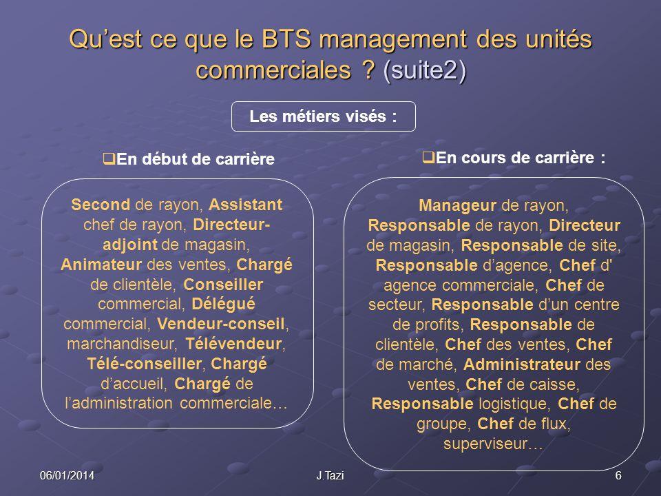 606/01/2014J.Tazi Quest ce que le BTS management des unités commerciales ? (suite2) Les métiers visés : Second de rayon, Assistant chef de rayon, Dire