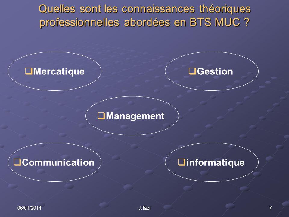706/01/2014J.Tazi Quelles sont les connaissances théoriques professionnelles abordées en BTS MUC ? Communication Mercatique Management Gestion informa