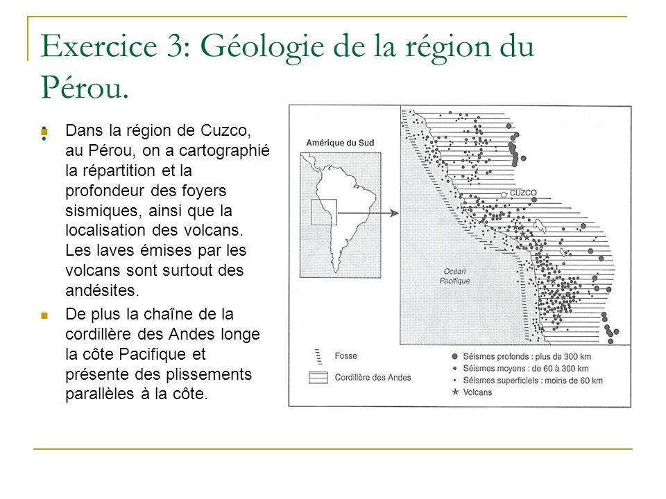 Exercice 3: Géologie de la région du Pérou. : Dans la région de Cuzco, au Pérou, on a cartographié la répartition et la profondeur des foyers sismique