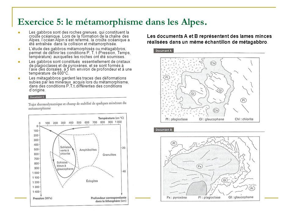 Exercice 5: le métamorphisme dans les Alpes. Les gabbros sont des roches grenues, qui constituent la croûte océanique. Lors de la formation de la chaî
