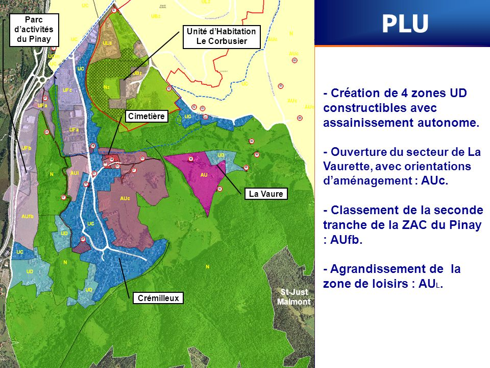 St-Just Malmont Unité dHabitation Le Corbusier Parc dactivités du Pinay Cimetière Crémilleux La Vaure PLU - Création de 4 zones UD constructibles avec