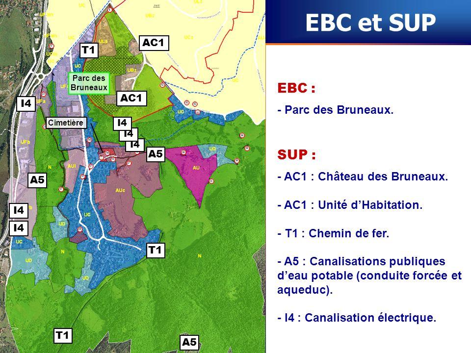 Cimetière EBC et SUP SUP : - AC1 : Château des Bruneaux. - AC1 : Unité dHabitation. - T1 : Chemin de fer. - A5 : Canalisations publiques deau potable
