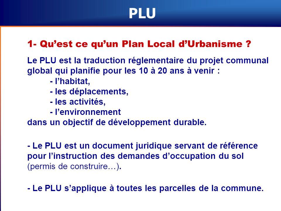PLU 1- Quest ce quun Plan Local dUrbanisme ? Le PLU est la traduction réglementaire du projet communal global qui planifie pour les 10 à 20 ans à veni