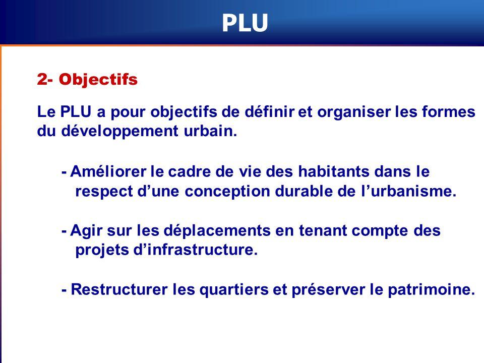 PLU 2- Objectifs Le PLU a pour objectifs de définir et organiser les formes du développement urbain. - Améliorer le cadre de vie des habitants dans le