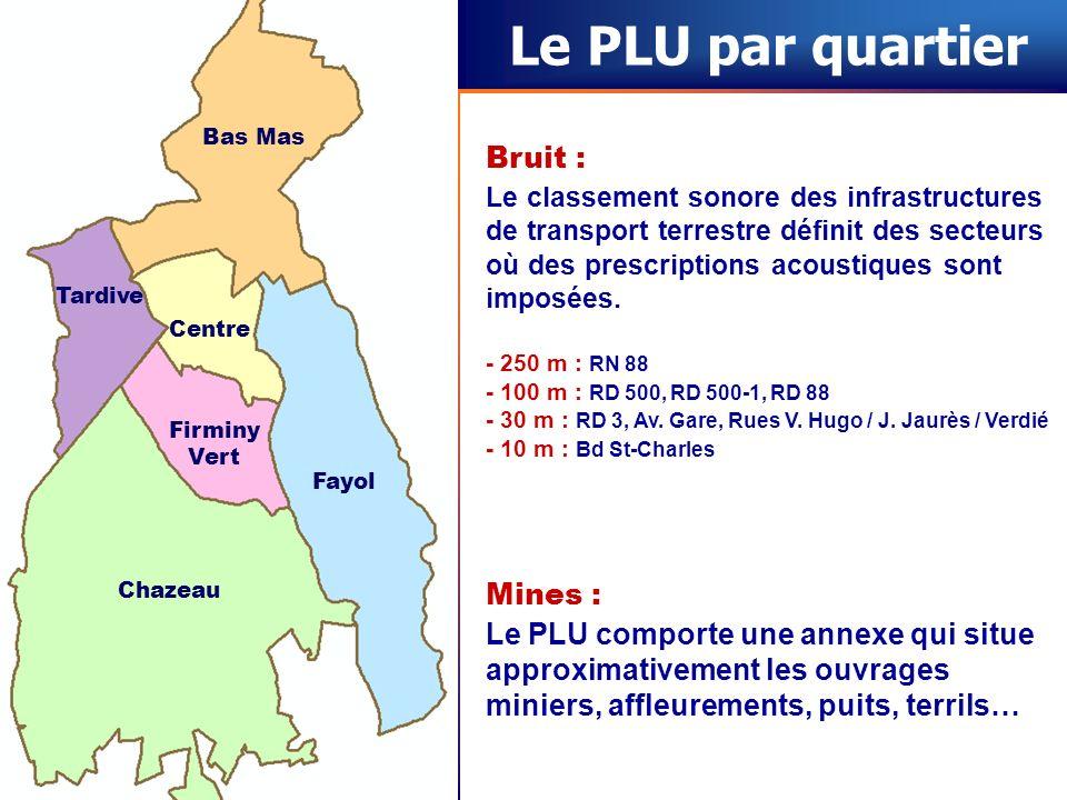Le PLU par quartier Bas Mas Centre Fayol Tardive Firminy Vert Chazeau Bruit : Le classement sonore des infrastructures de transport terrestre définit