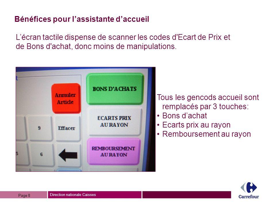 Direction nationale Caisses Bénéfices pour lassistante daccueil Lécran tactile dispense de scanner les codes d Ecart de Prix et de Bons d achat, donc moins de manipulations.
