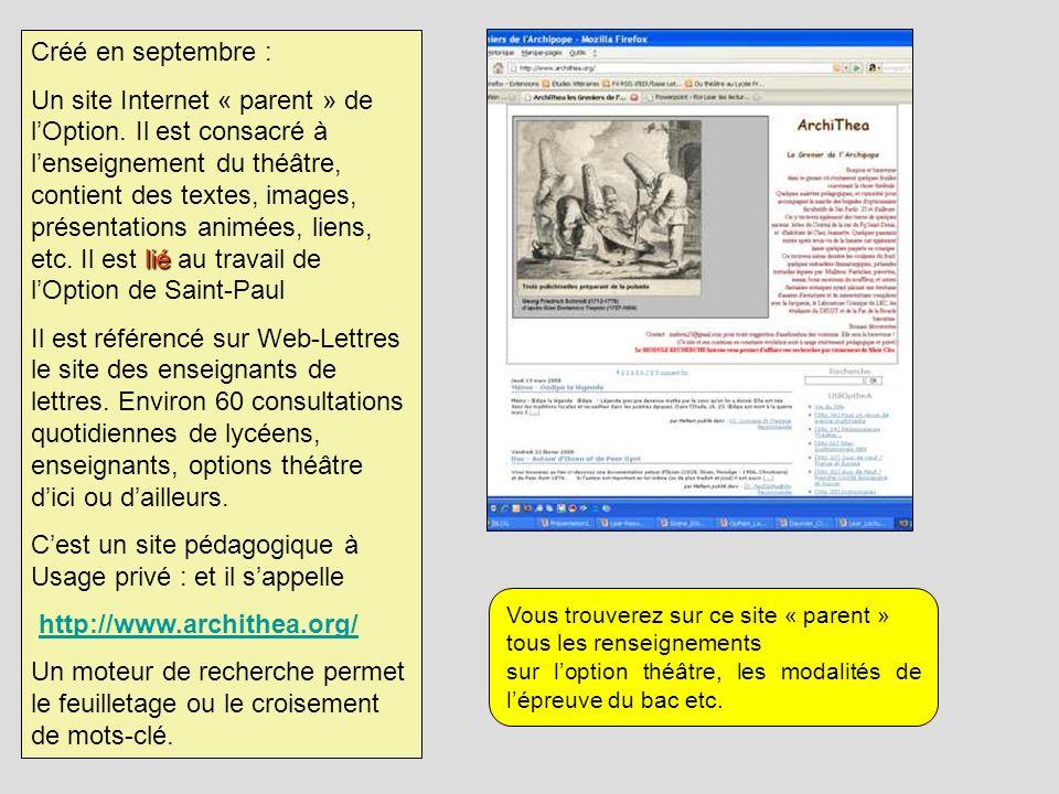 Créé en septembre : lié Un site Internet « parent » de lOption. Il est consacré à lenseignement du théâtre, contient des textes, images, présentations
