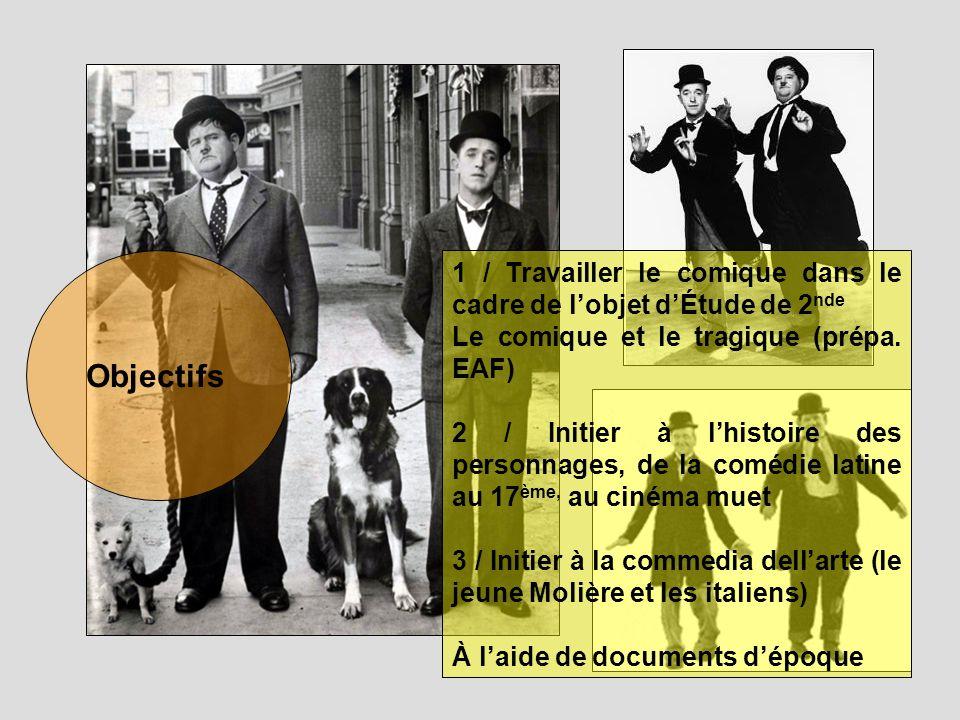 Objectifs 1 / Travailler le comique dans le cadre de lobjet dÉtude de 2 nde Le comique et le tragique (prépa. EAF) 2 / Initier à lhistoire des personn