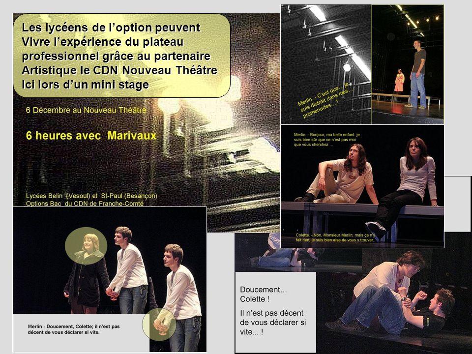 Les lycéens de loption peuvent Vivre lexpérience du plateau professionnel grâce au partenaire Artistique le CDN Nouveau Théâtre Ici lors dun mini stag