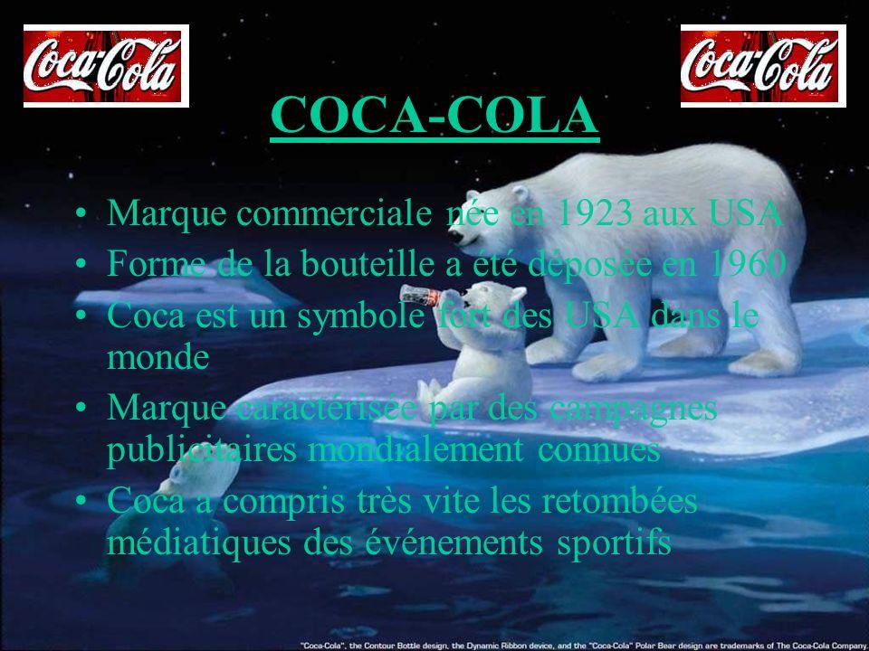 COCA-COLA Marque commerciale née en 1923 aux USA Forme de la bouteille a été déposée en 1960 Coca est un symbole fort des USA dans le monde Marque car