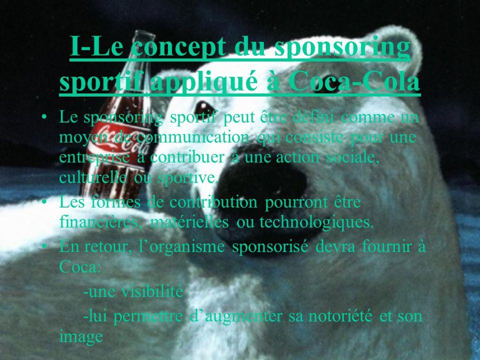 I-Le concept du sponsoring sportif appliqué à Coca-Cola Le sponsoring sportif peut être défini comme un moyen de communication qui consiste pour une e
