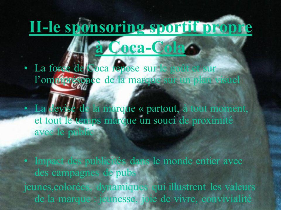 II-le sponsoring sportif propre à Coca-Cola La force de Coca repose sur le goût et sur lomniprésence de la marque sur un plan visuel La devise de la m