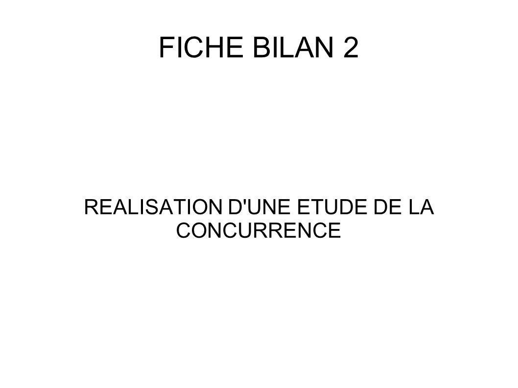 FICHE BILAN 2 REALISATION D'UNE ETUDE DE LA CONCURRENCE