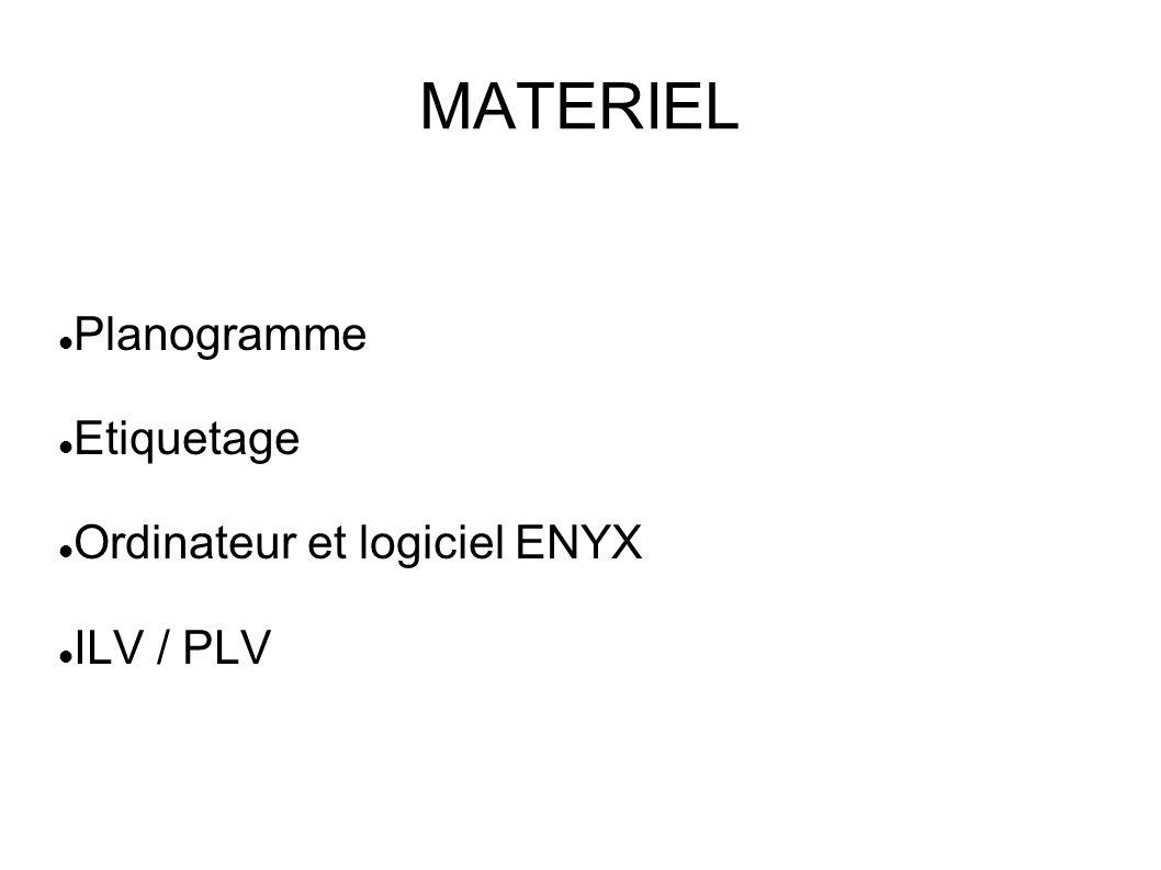 MATERIEL Planogramme Etiquetage Ordinateur et logiciel ENYX ILV / PLV